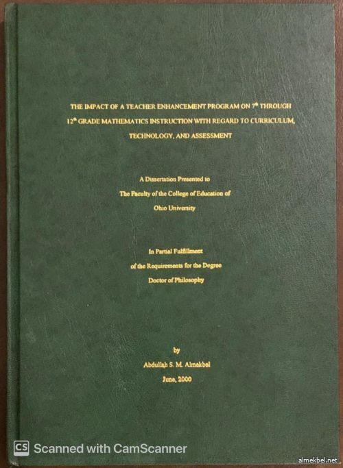 THE IMPACT OF A TEACHER ENHANCEMENT PROGRAM ON 7TH THROUGH 12TH GRADE MATHEMATICS INSTRUCTION WITH REGARD TO CURRICULUM TECHNOLOGY AND ASSESSMEN